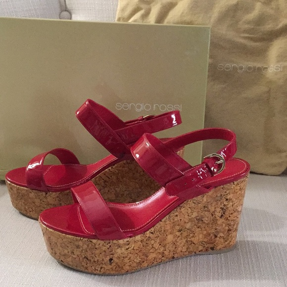 Sergio Rossi Shoes - Sergio Rossi red cork wedge sandal, 38.5